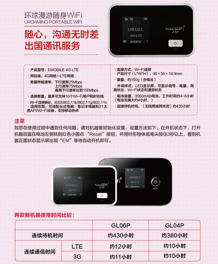 日本随身WiFi租赁 4G网络 不限流量